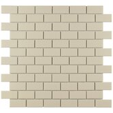 "Retro 11-3/4"" x 11-3/4"" Porcelain Subway Mosaic in Matte Biscuit"