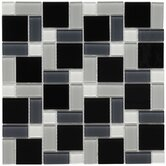 Ambit 11-3/4&quot; x 11-3/4&quot; Glass Block Mosaic in White and Black