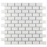 "Retro 11-3/4"" x 11-3/4"" Porcelain Subway Mosaic in Matte White"