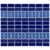 "Emilia 11-1/2"" x 13-1/8"" Glazed Porcelain Mosaic in Cobalt Blue"
