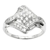 Sterling Essentials Sterling 9 Prong Silver Cubic Zirconia Cocktail Ring