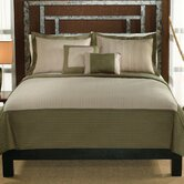 Barclay King Quilt with Two Shams in Sage / Tan