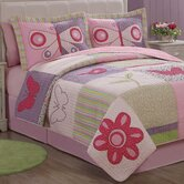 Butterfly Flower 3-Piece Quilt Set