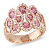 Silver Pink Rhodium Plated Pink Tourmaline and Cubic Zirconium Fashion Ring