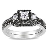 White Gold Princess and Round Cut Diamond Bridal Set Ring