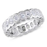 3K Sterling Silver Oval Shaped Cubic Zirconia Gemstones Eternity Ring