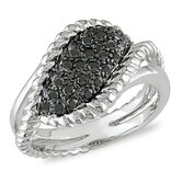 Sterling Silver Round Cut Diamond Statement Ring