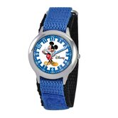 Kid's Mickey Mouse Time Teacher Velcro Watch in Blue Nylon