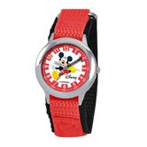 Kid's Mickey Mouse Time Teacher Velcro Watch in Red Nylon