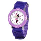 Kid's Minnie Mouse Time Teacher Velcro Watch in Purple with Purple Bezel