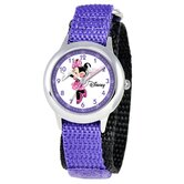 Kid's Minnie Mouse Time Teacher Velcro Watch in Purple