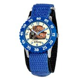 Kid's Cars Time Teacher Velcro Watch in Blue with White Dial