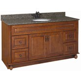 "Montclair 60"" x 21"" Double Door Vanity Cabinet with Double Bowl Top"