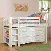 Windsor Twin Low Loft Bed with Bookcase and Wakefield Dresser