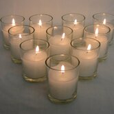 Votive Candles with Round Clear Glass Holders (Set of 25)