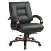 Deluxe Mid-Back Leather Executive Chair with Arms