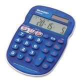 "10-Digit Calculator, Twin Powered, 3-1/3""x5""x3/4"", Blue"