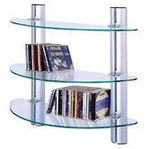 3 Tier Adjustable Glass Wall CD / DVD / Media Storage Shelves