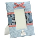 Baby Enamel Photo Frame Blue Fabric Frame