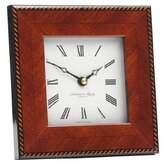 Marquetry Photo Frame Clock with Rope Fibre Back in Brown
