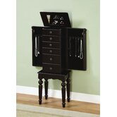 Antique Black Petite Ebony Jewelry Armoire