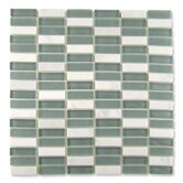 "Impact 5/8"" x 1-7/8"" Glass, Tile, and Metal Mosaic in Storm"