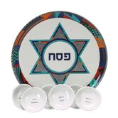 Colorful Star of David Porcelain Seder Plate