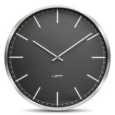 One Wall Clock with Black Index Dial in Stainless Steel