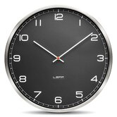 One Wall Clock with Black Arabic Dial in Stainless Steel