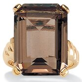 Gold Plated Smoky Quartz Ring