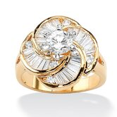 14k Gold Plated Round/Baguette Cubic Zirconia Ring