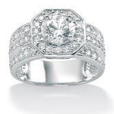Platinum/Silver Round Cubic Zirconia Octagon-Shaped Ring