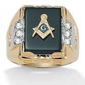 Gold Plated Men's Masonic Onyx Ring