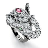 Black Ruthenium Cubic Zirconia/Ruby Elephant Ring
