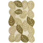 Nature's Beauty Warm Earth Beige Elm Leaves Rug