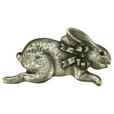 Curiosities Bunny with Bow Pull in Distressed Pewter Matte