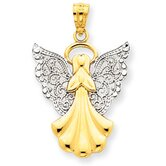 14k and Rhodium Filigree Angel Pendant