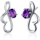 Rhythmic Curves 1.50 Carats Gemstone Oval Cut Earrings in Sterling Silver