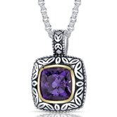 Cushion Cut 3.75 Carats Amethyst Antique Style Pendant in Sterling Silver