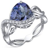Swirl Design 4.00 Carats Heart Shape Ring in Sterling Silver