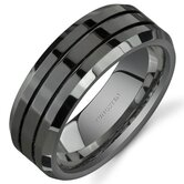 Beveled Edge Double Groove 8 mm Comfort Fit Mens Black Tungsten Wedding Band Ring