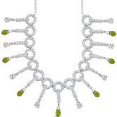 Dainty Chic 4.75 Carats Briolette Drop Peridot And White CZ Gemstone Necklace in Sterling Silver