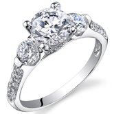 Sterling Silver Round Cut Cubic Zirconia Single Stone Ring
