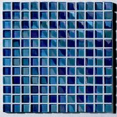 "Metallica  1"" x 1"" Glass Mosaic in Mix Metallica Azzurro"