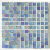 "Metallica Satin 1"" x 1"" Glass Mosaic in Blu Metallica Satin"