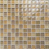 "Crystal-C 1"" x 1"" Glass Mosaic in Mix Beige Gloss"