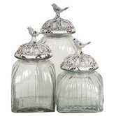 Glass Jar with Bird on Lid (Set of 3)