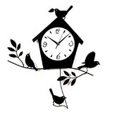 Birds and Bird House Wall Clock with Pendulum in Black Matte