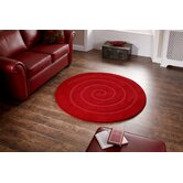 Spiral Red Tufted Rug