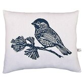 Chickadee Block Print Squillow Accent Pillow